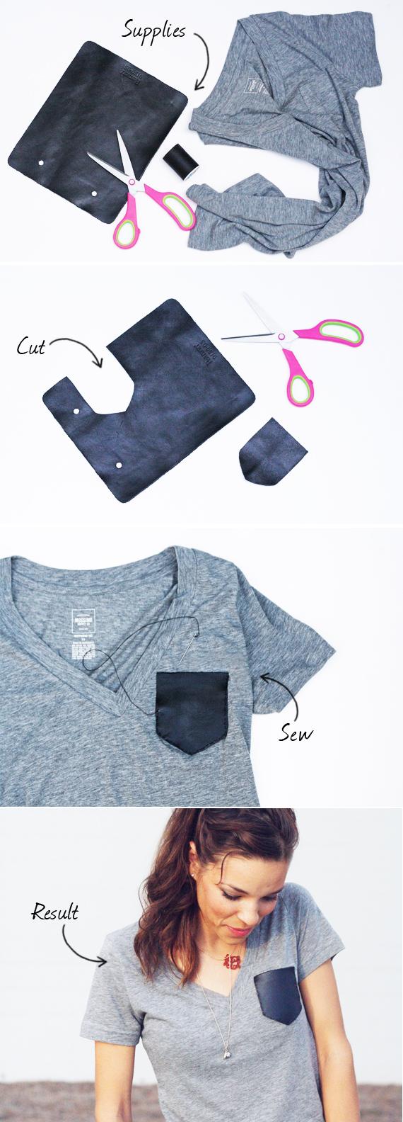 Camiseta básica con bolsillo de cuero