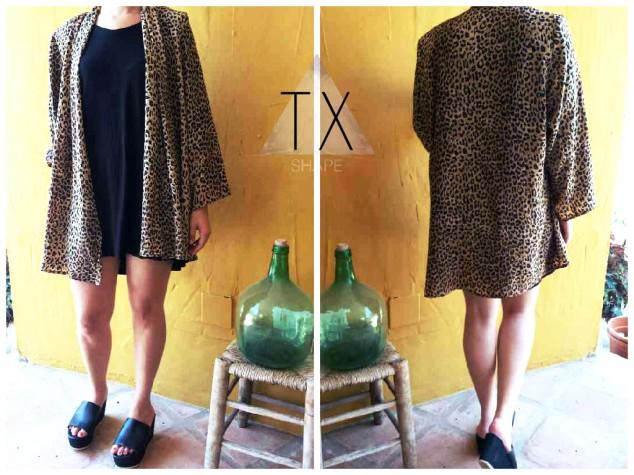 Kimono vintage print leopardo